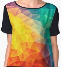 Abstract Multi Color Cubizm Painting Chiffon Top