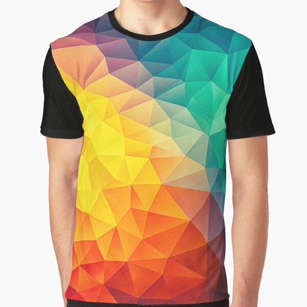 ideal para todos los diseñadores, artistas y amigos del estilo de baja poli cubismo por todo el patrón de moda. Un gran diseño de espectro / arco iris que viene con los grandes rosa y morado y los verdes de diamantes más profundos y el amarillo más radia Camiseta gráfica