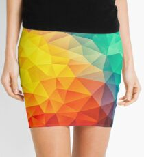 Abstract Multi Color Cubizm Painting Mini Skirt