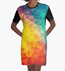Abstract Multi Color Cubizm Painting Graphic T-Shirt Dress