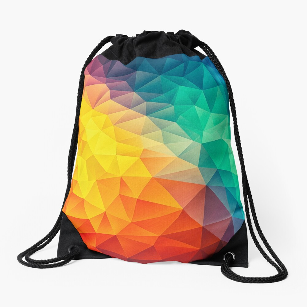 Abstract Multi Color Cubizm Painting Drawstring Bag