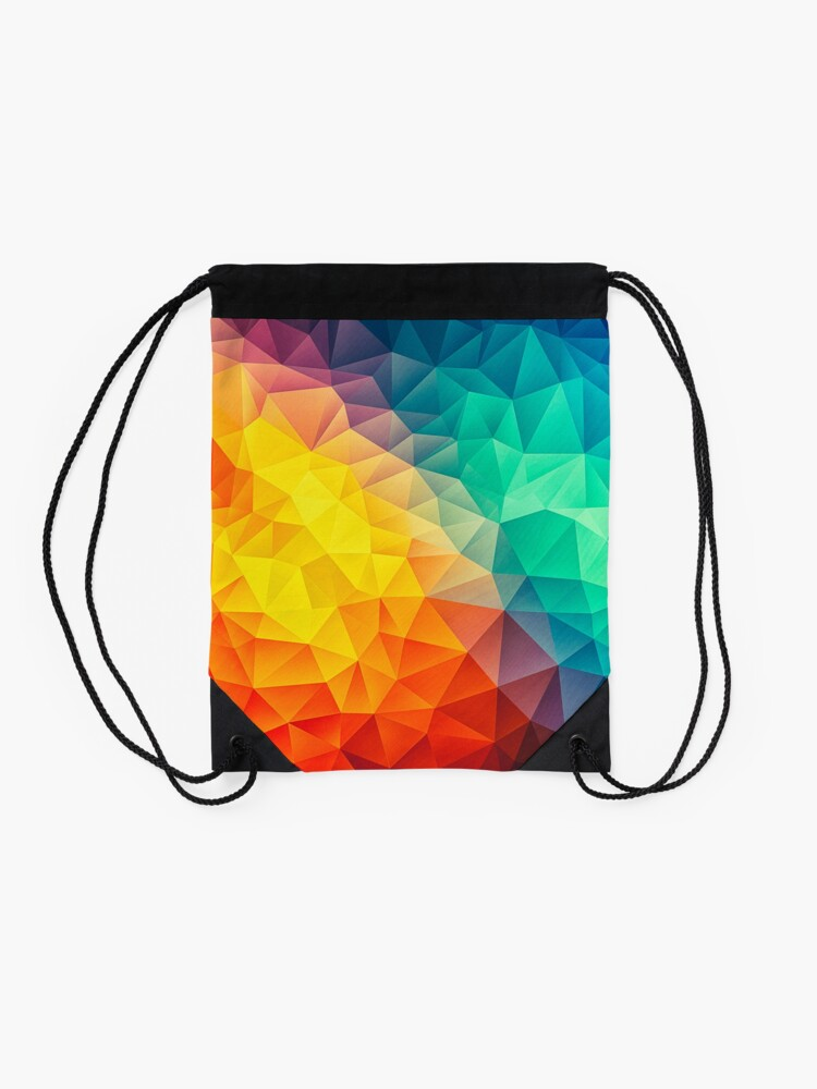 Alternate view of Abstract Multi Color Cubizm Painting Drawstring Bag