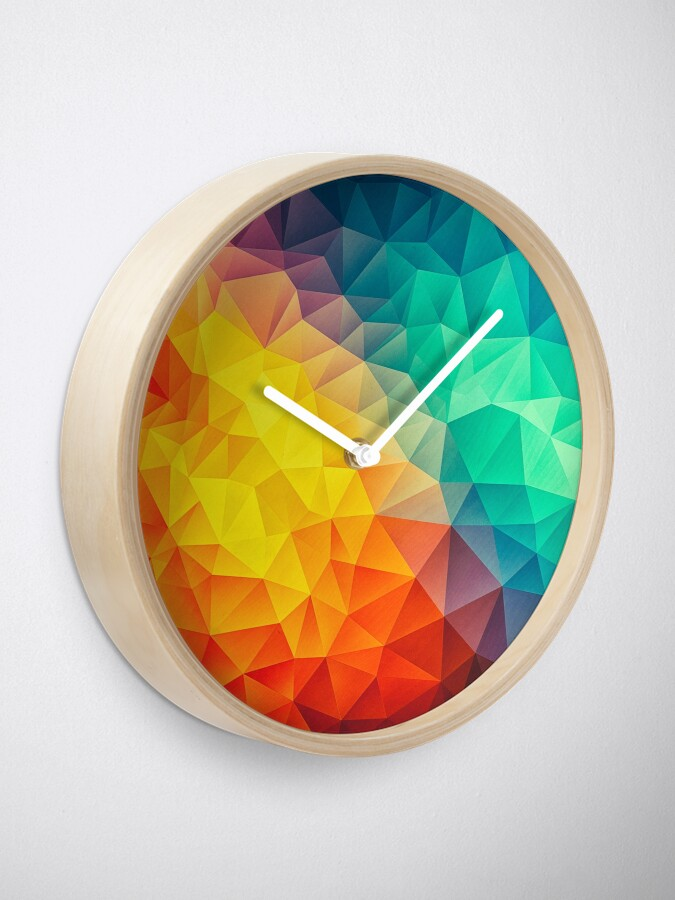 Alternate view of Abstract Multi Color Cubizm Painting Clock