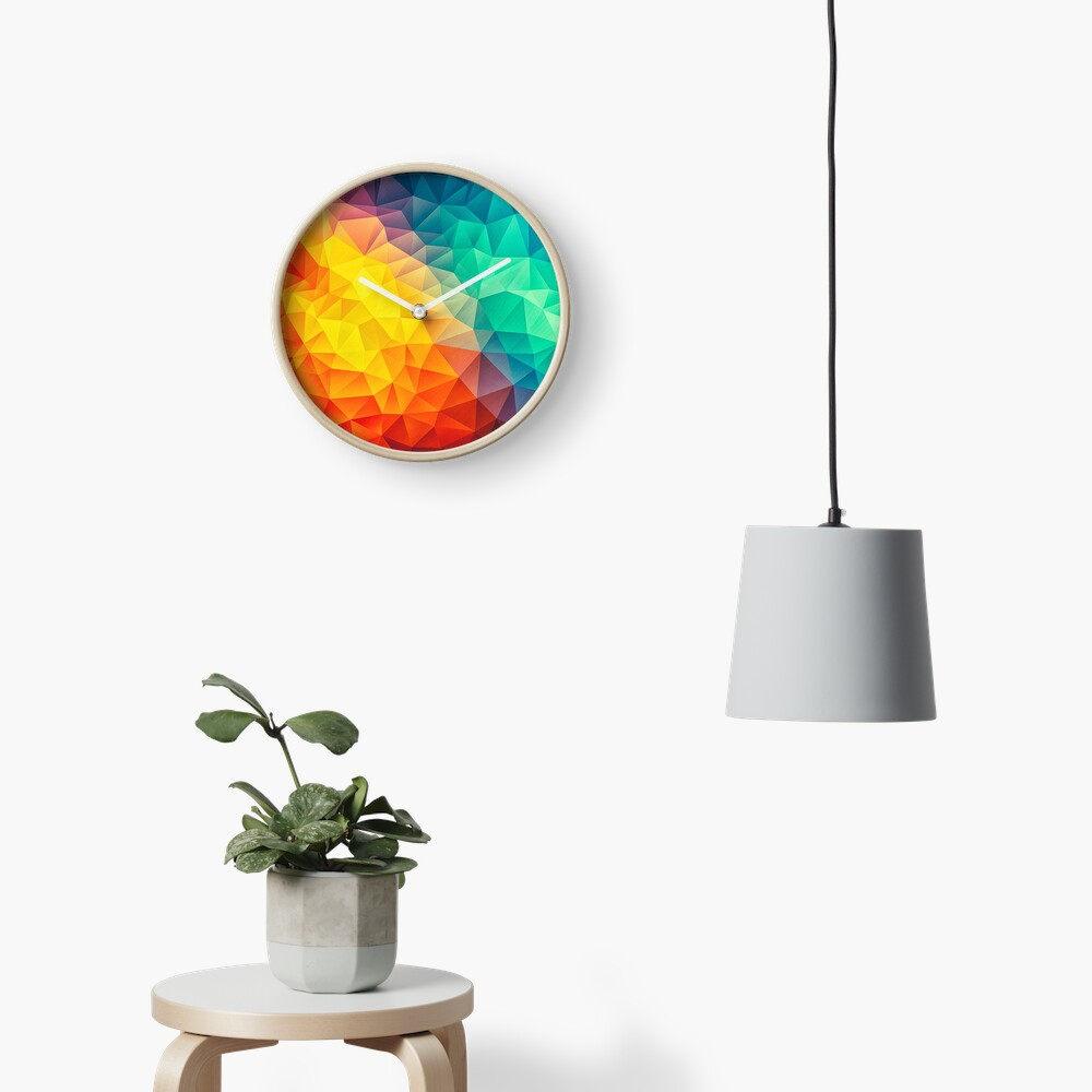 Abstract Multi Color Cubizm Painting Clock