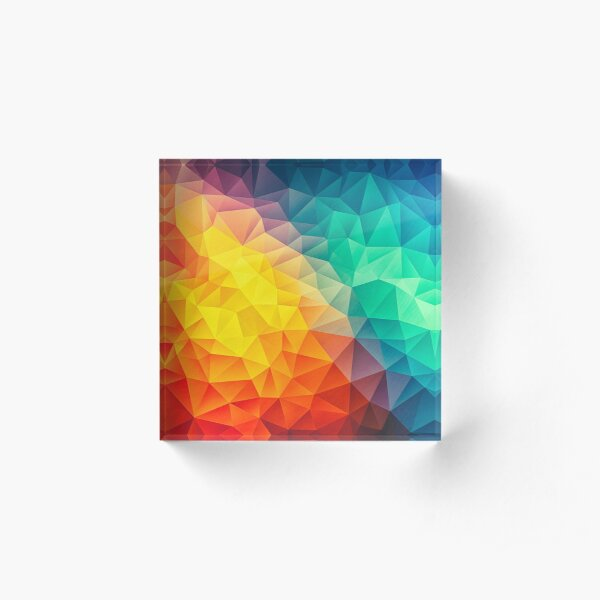 Abstract Multi Color Cubizm Painting Acrylic Block