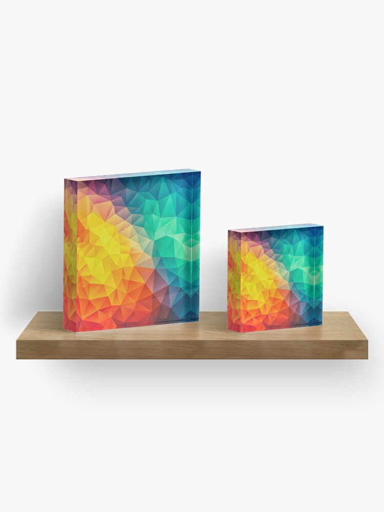 Alternate view of Abstract Multi Color Cubizm Painting Acrylic Block