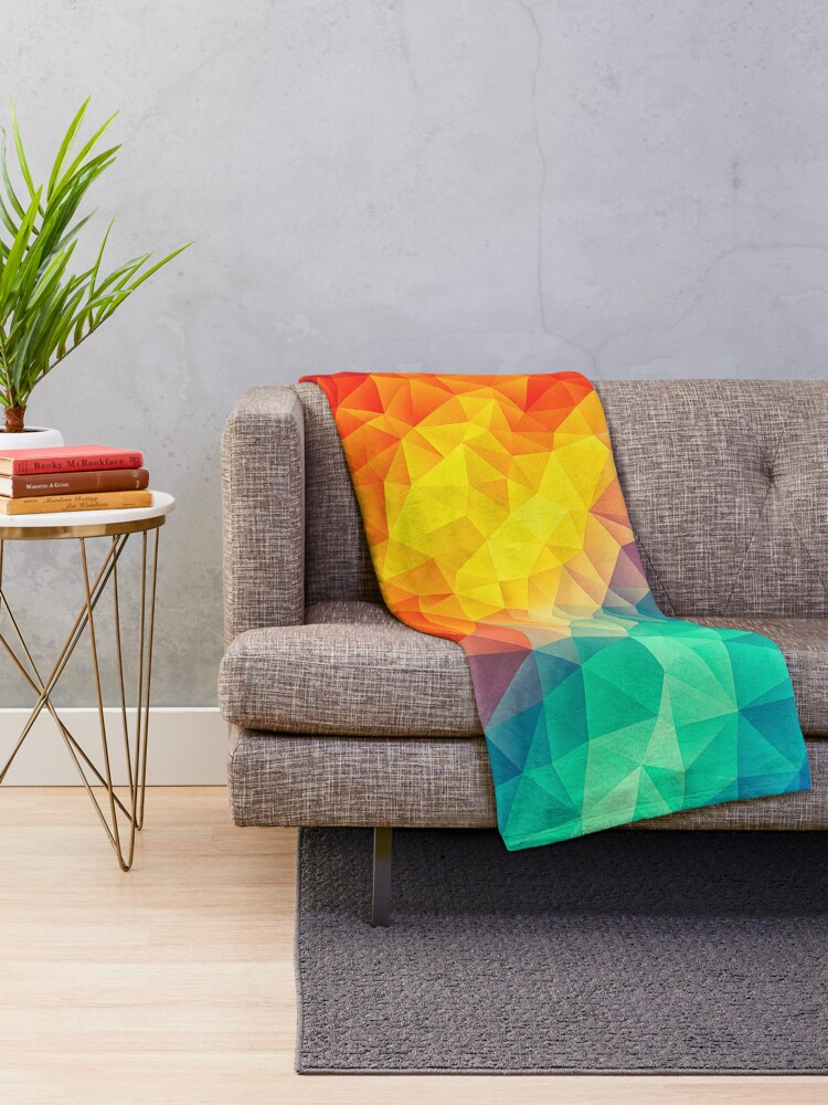 Alternate view of Abstract Multi Color Cubizm Painting Throw Blanket