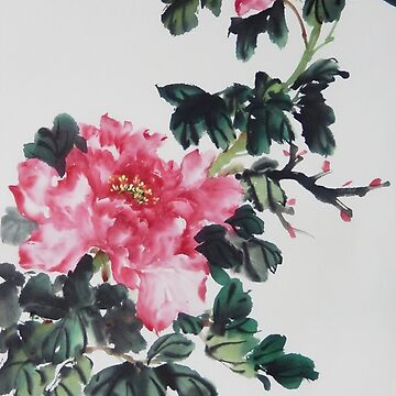 Peony Painting by PixelQube32