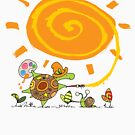 SNAIL and TURTLE paint the SUN by oneredbird