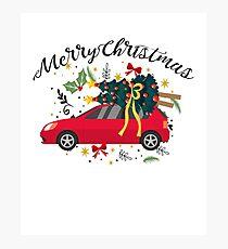 truck with Christmas tree Fun Christmas Merry Christmas Photographic Print