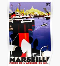Vintage Marseille France Shipping Travel Poster Poster