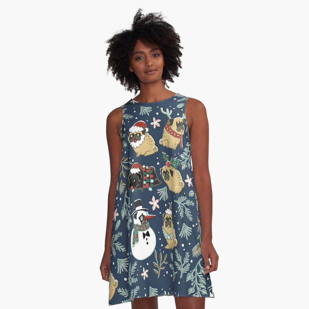 Weihnachtspugs A-Linien Kleid