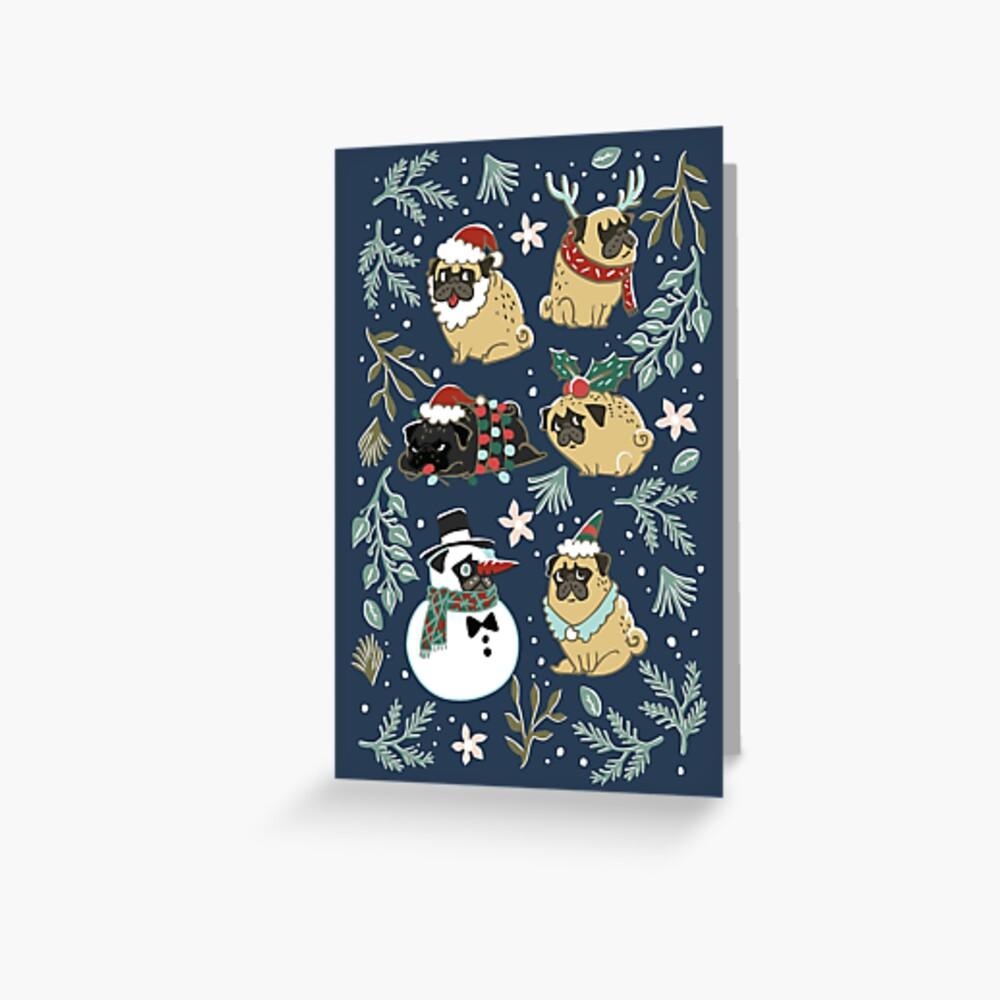 Weihnachtspugs Grußkarte