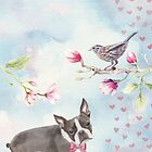 Boston Terrier & Dunnock Watercolour by Ludwig Wagner