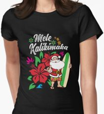 'Mele Kalikimaka' Cute Christmas Hawaiian Gift Women's Fitted T-Shirt