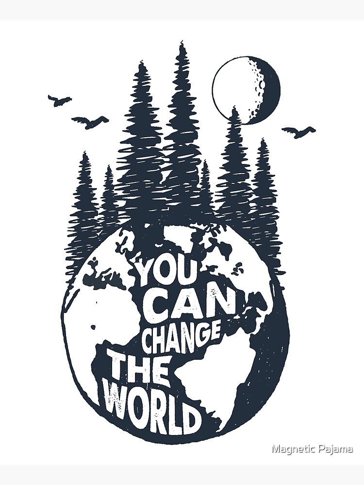 You Can Change the World Earth with Trees, Full Moon & Birds by MagneticMama