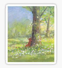 Fletcher fox behind a tree Sticker