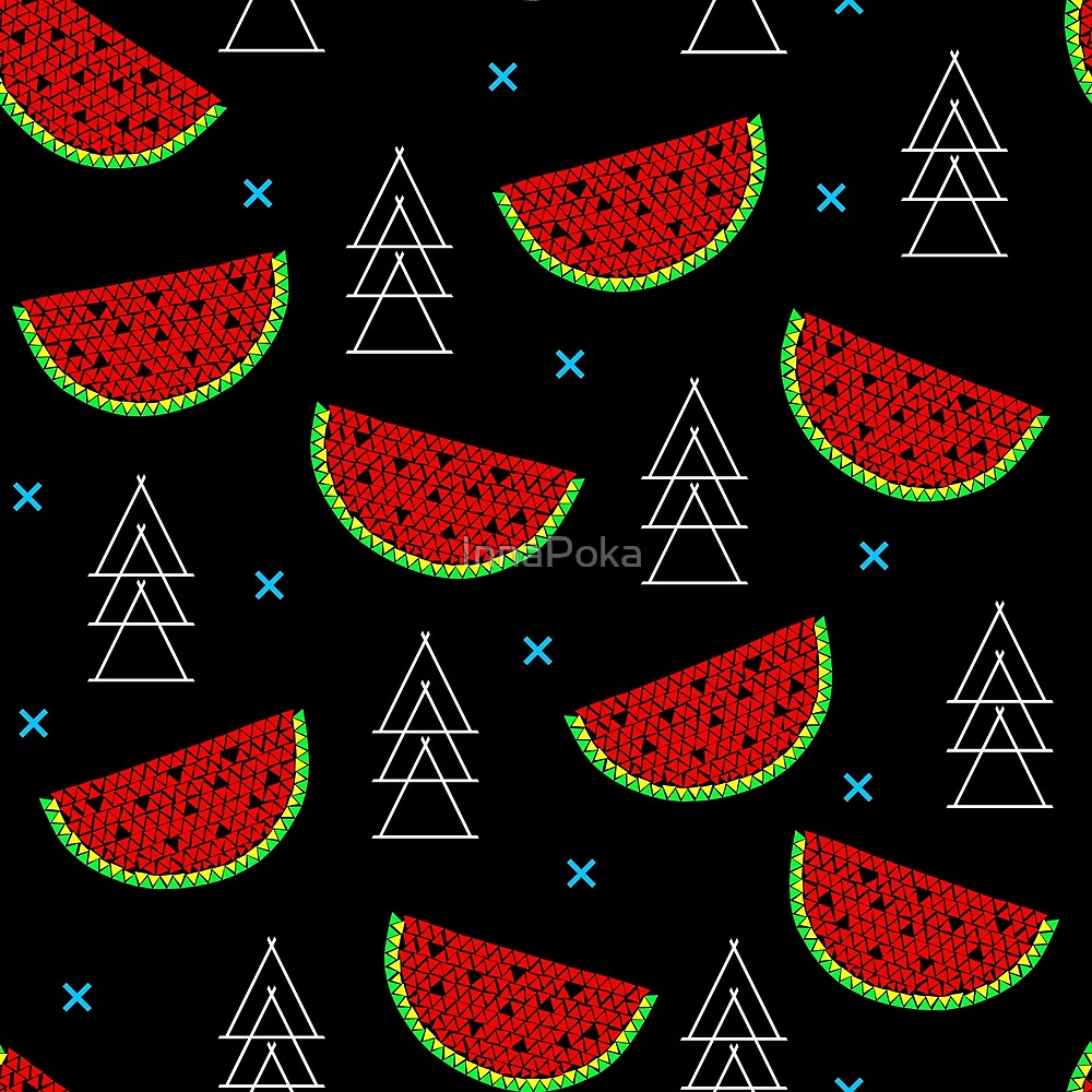 Tropical mosaic watermelon design on black background by InnaPoka