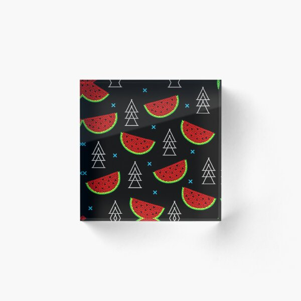 Tropical mosaic watermelon design on black background Acrylic Block