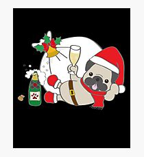Funny Pug Christmas Wine Santa Claus Dog Lover Gifts Photographic Print