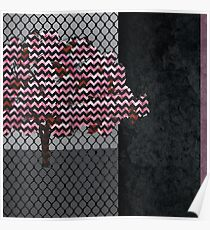 Abstract Pink Blossom tree composition on rust Poster
