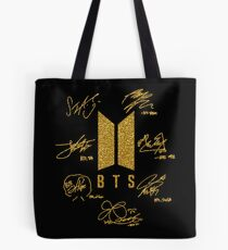 "BTS - Logo + signatures ""Black & Gold"" Tote Bag"