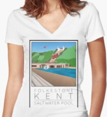 Lido Poster Folkestone Saltwater Women's Fitted V-Neck T-Shirt