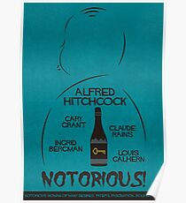 Notorious, Alfred Hitchcock, 1946, vintage movie poster, Fine Art, thriller, Cary Grant, classic cinema, retrò old hollywood film Poster