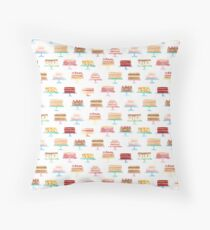 Watercolor pattern with cute colorful cakes on stands Throw Pillow