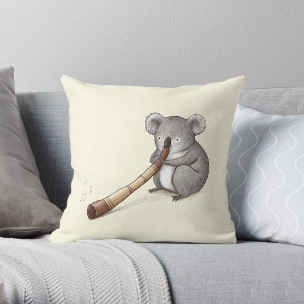 Koala Playing the Didgeridoo Throw Pillow