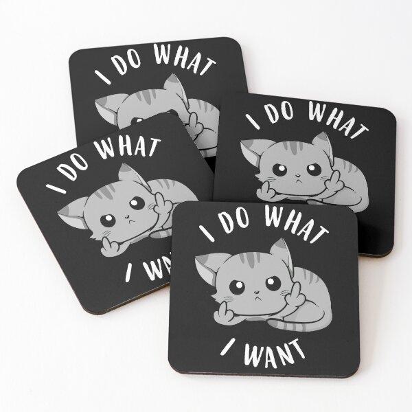 I Do What I Want Sassy Cat Coasters (Set of 4)
