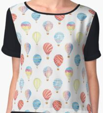 Pattern with watercolor colorful balloons Women's Chiffon Top