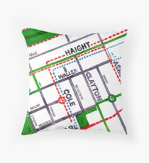San Francisco map - Haight Ashbury/Cole Valley Throw Pillow