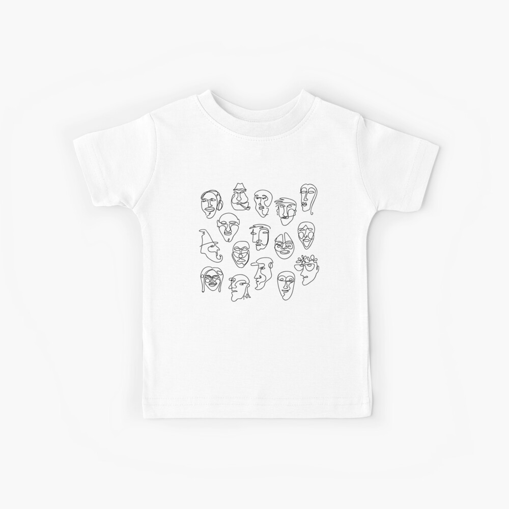 Single Line Face Design Pattern Kids T-Shirt