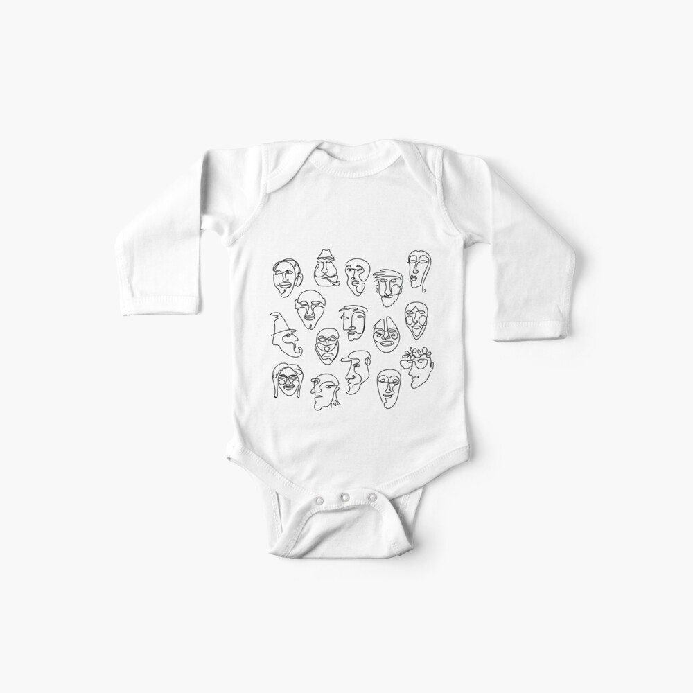 Single Line Face Design Pattern Baby One-Piece