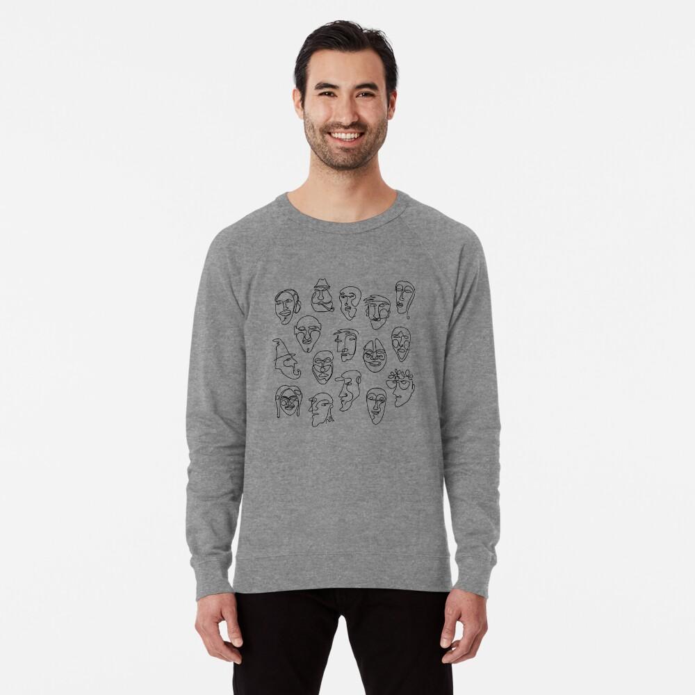 Single Line Face Design Pattern Lightweight Sweatshirt