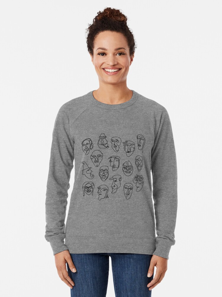 Alternate view of Single Line Face Design Pattern Lightweight Sweatshirt