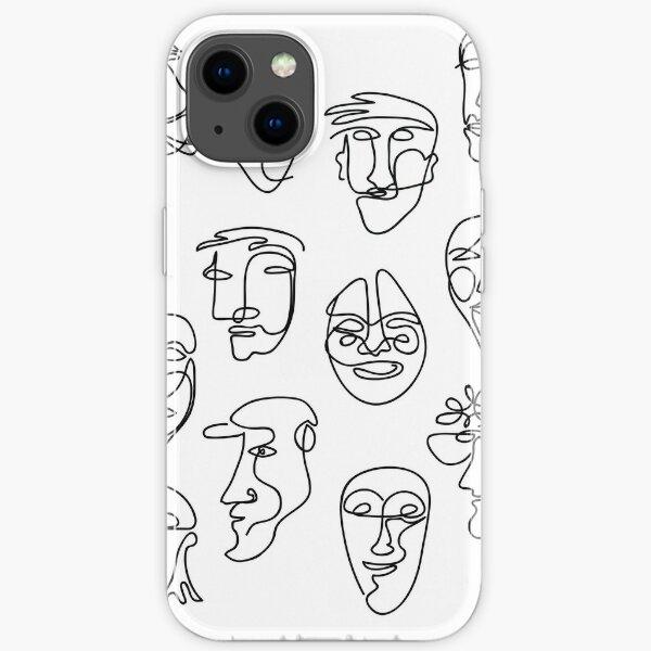 Single Line Face Design Pattern iPhone Soft Case