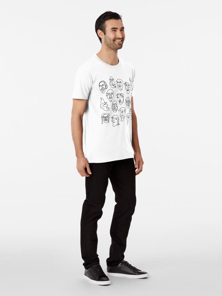 Alternate view of Single Line Face Design Pattern Premium T-Shirt