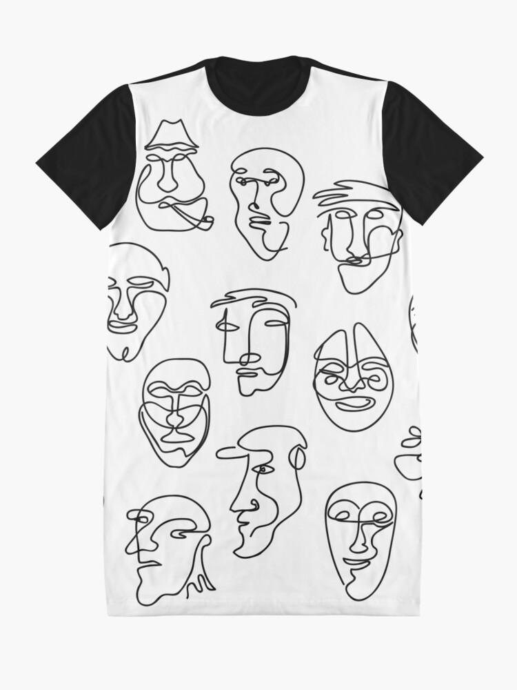 Alternate view of Single Line Face Design Pattern Graphic T-Shirt Dress