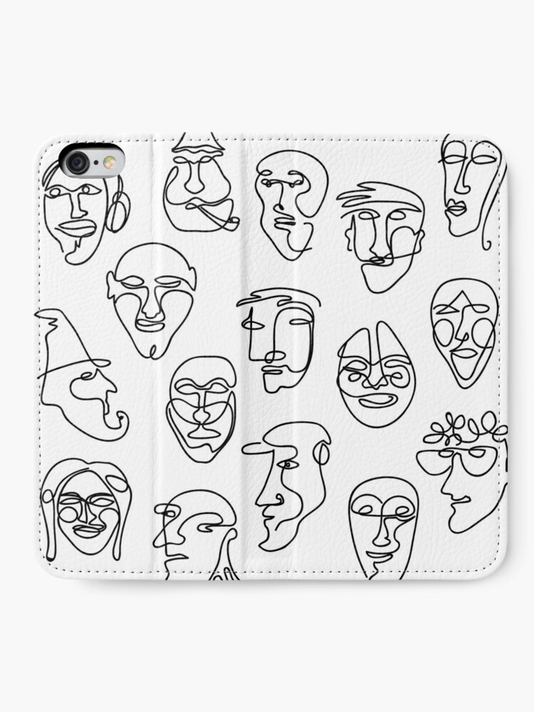 Alternate view of Single Line Face Design Pattern iPhone Wallet