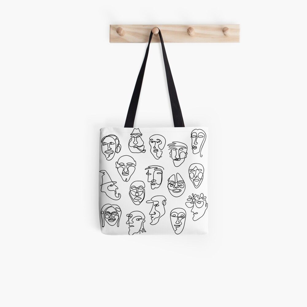 Single Line Face Design Pattern Tote Bag