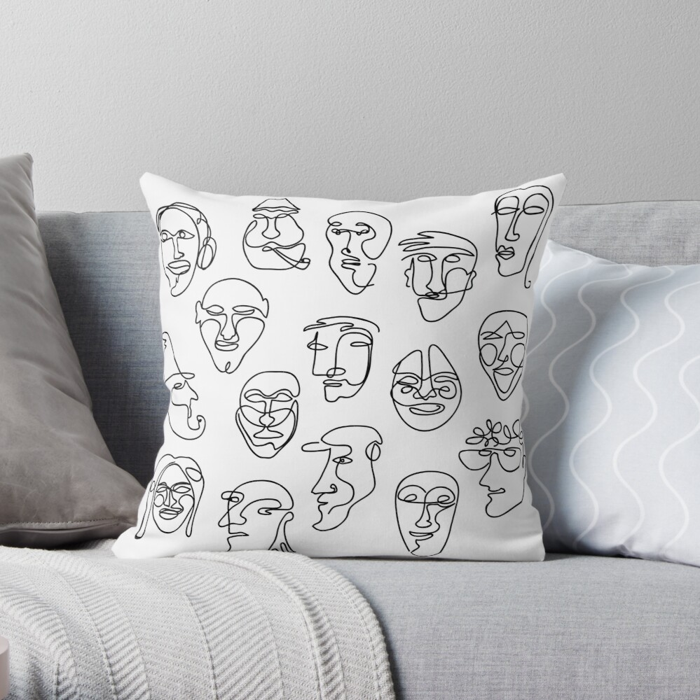 Single Line Face Design Pattern Throw Pillow