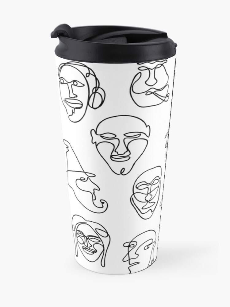 Alternate view of Single Line Face Design Pattern Travel Mug