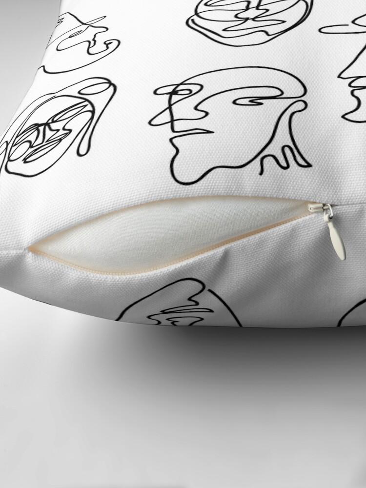 Alternate view of Single Line Face Design Pattern Floor Pillow