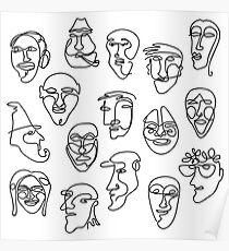 Póster Patrón de diseño de cara simple