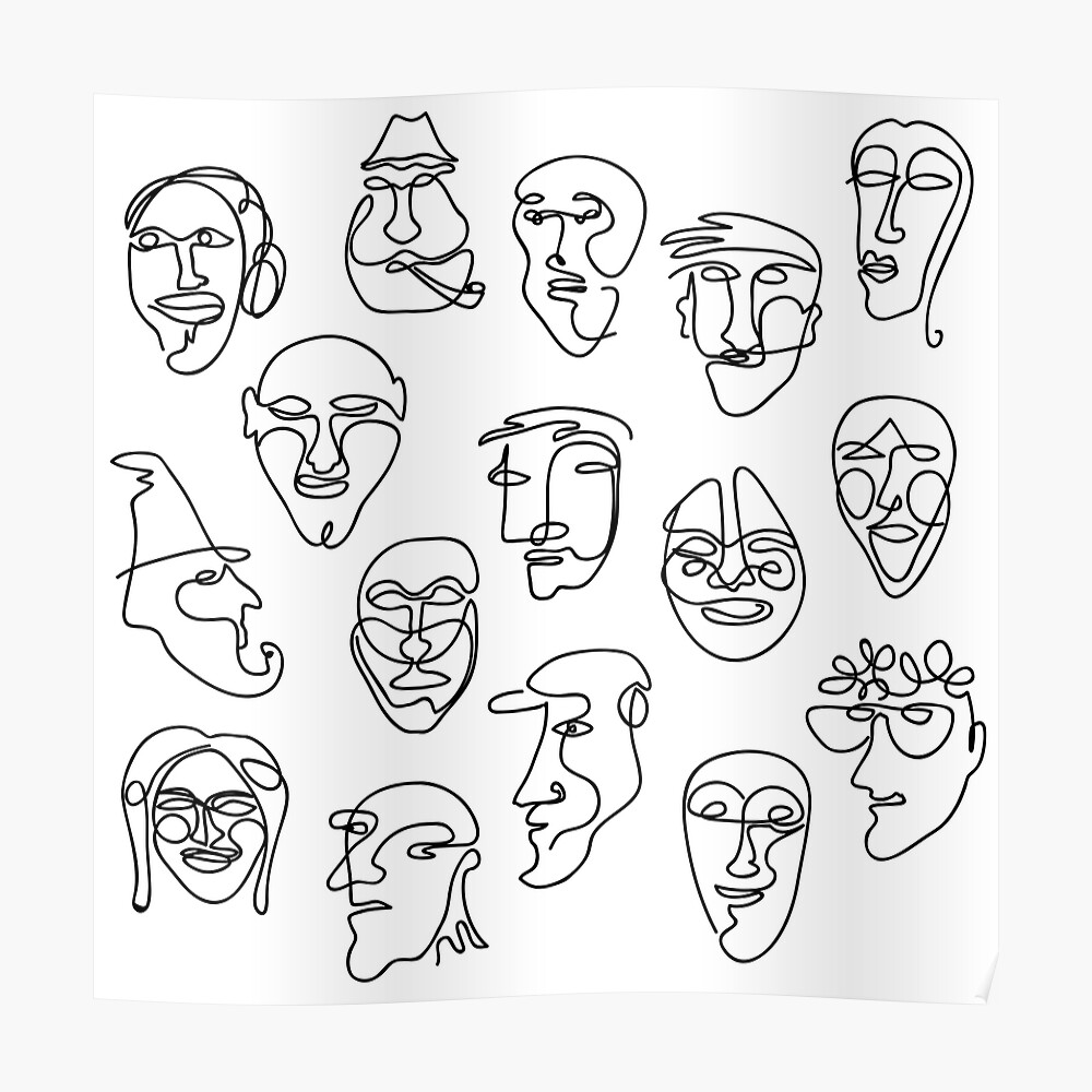 Single Line Face Design Pattern Poster