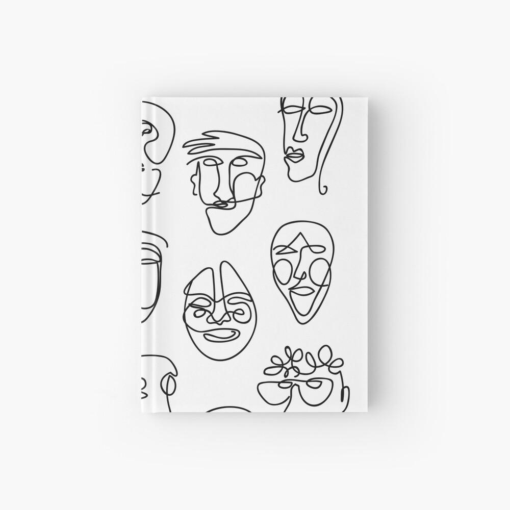 Single Line Face Design Pattern Hardcover Journal