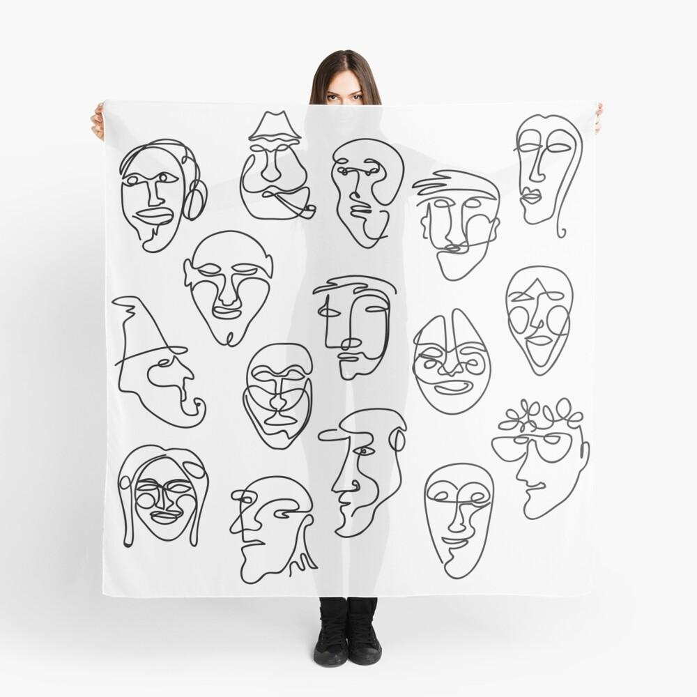 Single Line Face Design Pattern Scarf