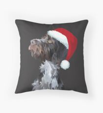 Christmas Wire Haired Pointer Throw Pillow
